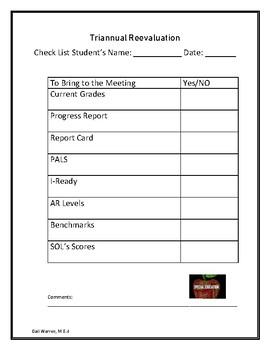 Triennial Re-evaluation Form