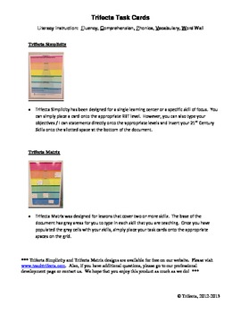 Trifecta Literacy Task Cards