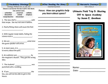 Harcourt Journeys Blasting Off to Space Academy Trifold