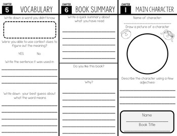 Quick Chapter Book Reading Response Sheet Trifold