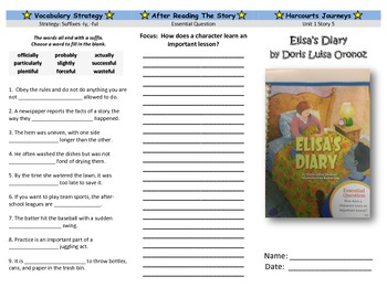 Harcourt Journeys Elisa's Diary Trifold Grade 5