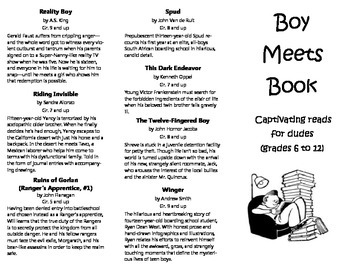 Trifold Printable Booklist: Reading Suggestions for Boys, Grades 6 to 12