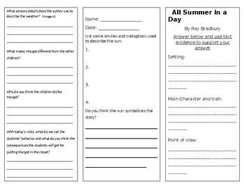 Trifold for All Summer in a Day and The Fun They Had