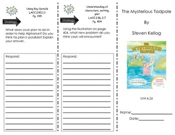 Trifold for The Mysterious Tadpole by Steven Kellog- Journeys Common Core