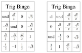 Trig Bingo Activity (Unit Circle Values)