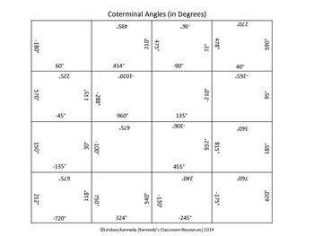 Natural Selection Worksheet Answer Key Trig Coterminal Angles In Degrees  Square Puzzle  Tpt British Empire Worksheet Pdf with Algebra Practice Worksheet Pdf Trig Coterminal Angles In Degrees  Square Puzzle Passive Active Voice Worksheet Pdf