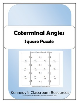Trig Coterminal Angles (in Degrees) - Square Puzzle