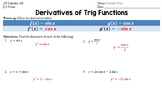 Trig Derivatives