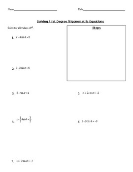 Trig Equations (Linear and Second Degree)