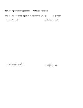 Trig Equations Test