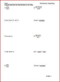 Simplifying Trig Identities Worksheet Teaching Resources Teachers