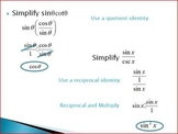Trig Expressions Simplifying Using the Identitites (PP)
