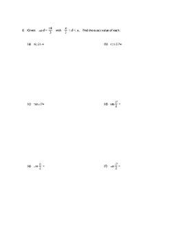 Trig Formulas Review
