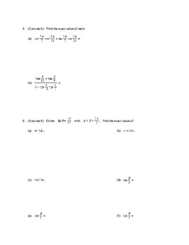 Trig Formulas Test