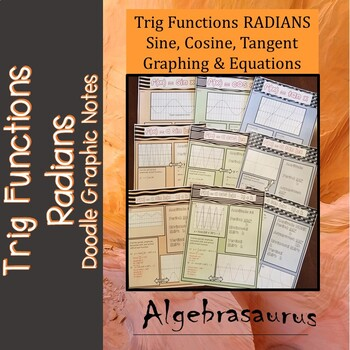 Trig Functions RADIANS Sine Cosine Tangent Packet Doodle Notes Graphic Organizer