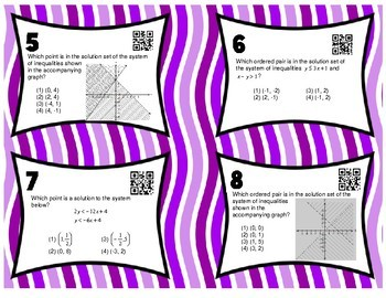 Systems of Inequalities Task Cards with QR Codes