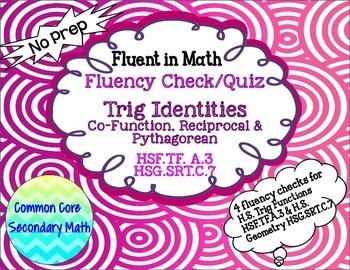 Trig Identities - Basic Fluency Check / Quiz: No Prep Fluent in Math Series