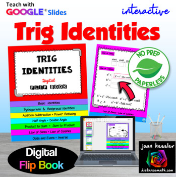 Trig Identities Interactive Flip Book with Google Slides Digital 1:1