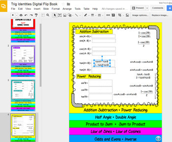 Trig Identities Interactive Flip Book with Google Slides™ Digital 1:1