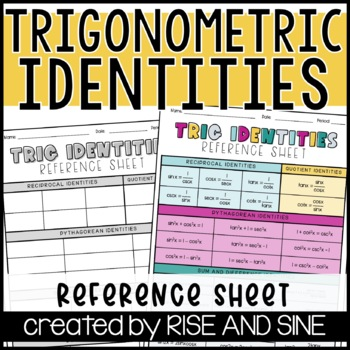 Trig Identities Reference Sheet