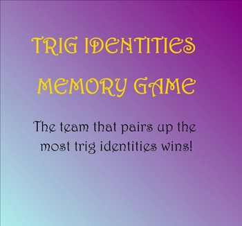 Trig Identities Smart Notebook Memory Game