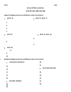 Trig Identities - Sum & Difference, Sum & Product