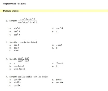 Pre-Calculus: Trig Identities Test Bank (Examview)