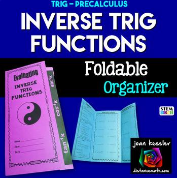 Inverse Trigonometric Functions Foldable Organizer