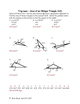 Trig Laws - Area of an Oblique Triangle SAS