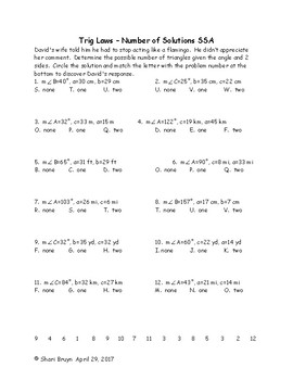 Trig Laws - Number of Solutions SSA