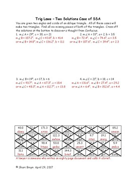 Trig Laws - Two Solutions Case of SSA