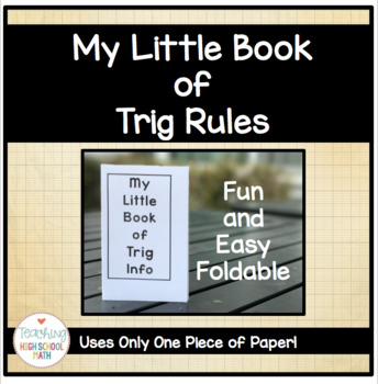 Trig Little Book of Rules (Great mini book for Trig and