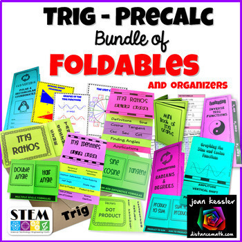 Trigonometry PreCalculus Bundle of Foldable Organizers plus more