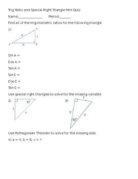 Trig Ratio Quiz