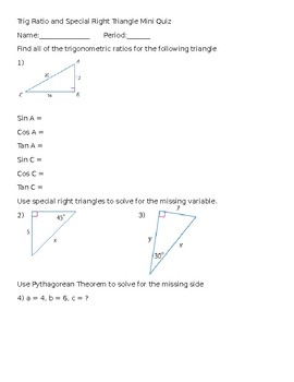 Trig Ratio Quiz