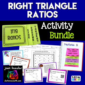 Trig Right Triangle Ratios Bundle of 5 Products   Algebra  Geometry