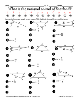 Trig Ratios - Finding sine, cosine, and tangent ratios