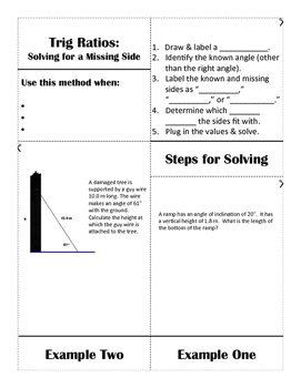 Trig Ratios| Finding a Missing Side Flipbook Notes