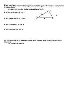 Trig Ratios Guided Notes Page