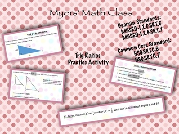 Trig Ratios Practice Activity - **EDITABLE**