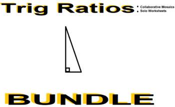 Trig Ratios (SohCahToa) - Worksheet & Collaborative Mosaic BUNDLE
