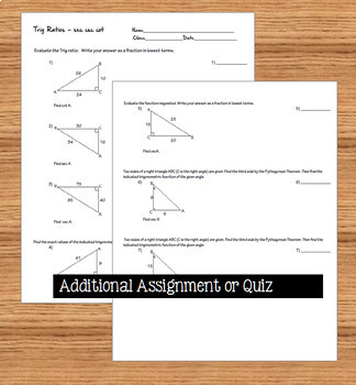 Trig Ratios of Right Triangles, Sec Csc Cot Task Cards plus Handout