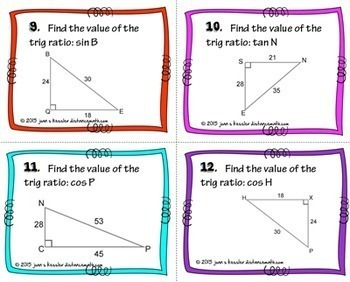 Trig Ratios of Right Triangles Task Cards plus HW or Quiz - Sin Cos Tan  QR