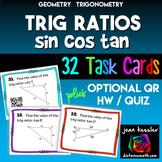 Trigonometry Ratios of Sine Cosine Tangent Task Cards plus HW QR