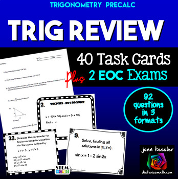 Trig Review Task Cards and Test Entire Course -  PreCalculus Review of Trig
