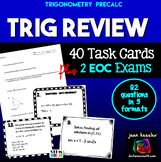 Trigonometry Review Task Cards and Test for PreCalculus EOC Review