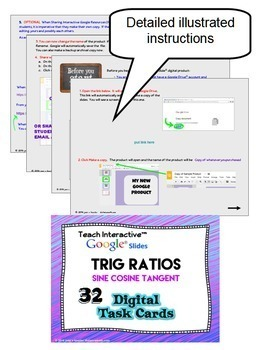 Trig Right Triangle Ratios with GOOGLE Slides Digital Task Cards