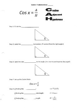 Trig (SOH CAH TOA) Guided Notes and Answer Key