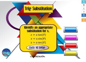 Trig Substitution for Techniques of Integration - 25 Boom Cards