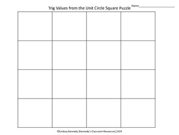 Trig Values from the Unit Circle - Square Puzzle